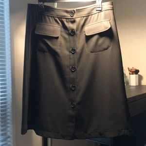 Black buttoned work skirt